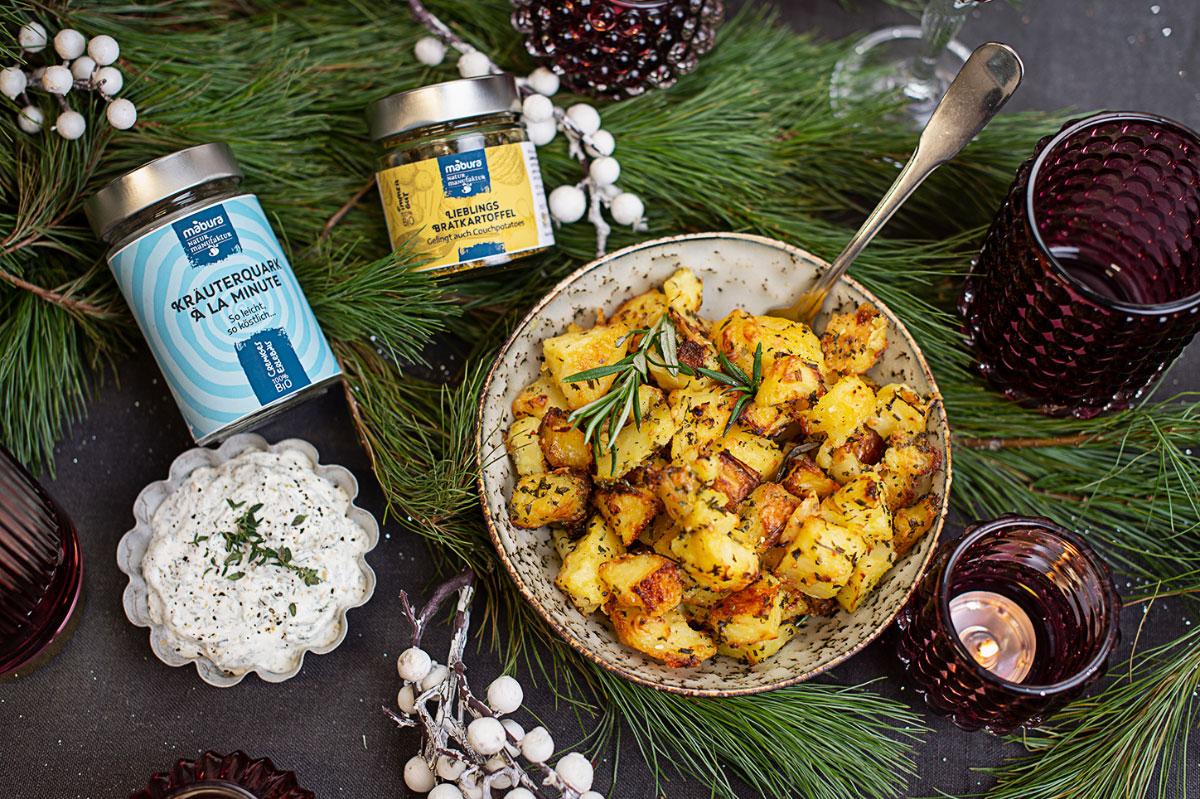Mabura Rezept Knackige Kartoffeln mit Parmesan und cremigem dip